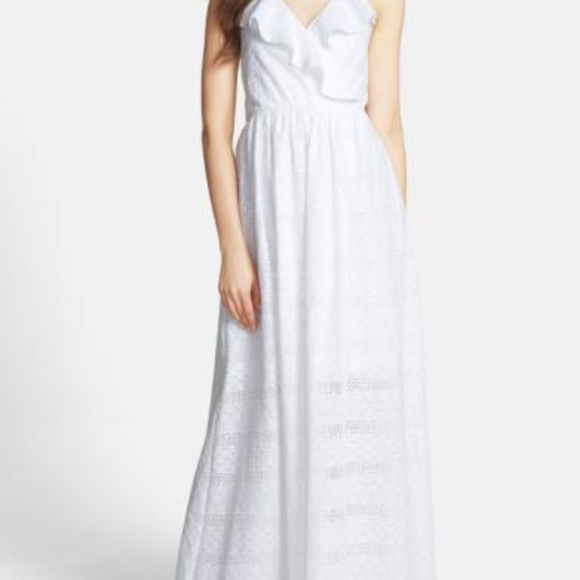 6f3591990d0 Betsey Johnson Ruffle Cotton Eyelet Halter Maxi